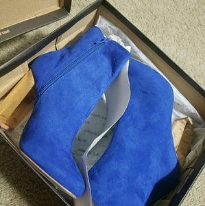 Colbat blue suede  heel boots (NEW)